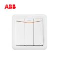 ABB开关插座德静系列白色三位双控带装饰线带灯开关 10AX