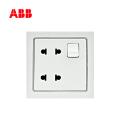 ABB开关插座德宁系列白色二位二极扁圆两用带开关插座 10A