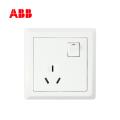 ABB开关插座徳逸系列白色一位三极带开关插座 10A