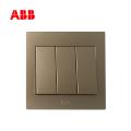 ABB开关插座永致系列朝霞金三位单控开关 10AX